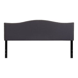 Offex Upholstered King Size Headboard with Accent Nail Trim in Dark Gray Fabric