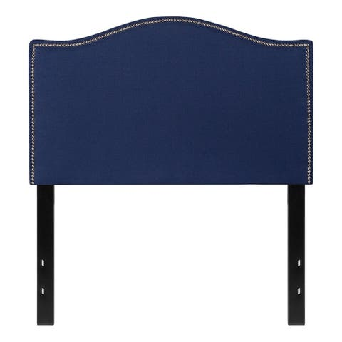 Offex Upholstered Twin Size Headboard with Accent Nail Trim in Navy Fabric
