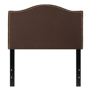 Offex Upholstered Twin Size Headboard with Accent Nail Trim in Dark Brown Fabric