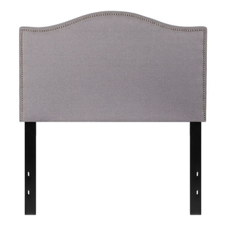 Offex Upholstered Twin Size Headboard with Accent Nail Trim in Light Gray Fabric