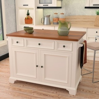 222 Fifth Hamilton White Kitchen Island (With Drop Leaf)