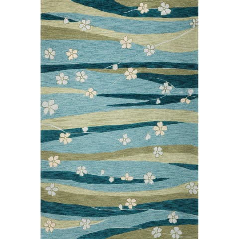 Porch & Den Vince Blue/Green Daisy and Striation Area Rug