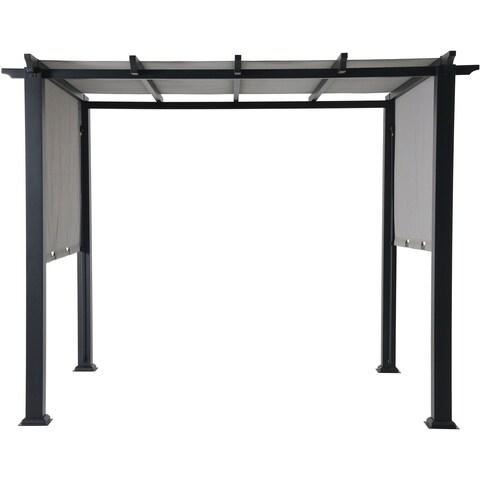 Hanover Grey Steel 8-foot x 10-foot Adjustable Canopy Pergola