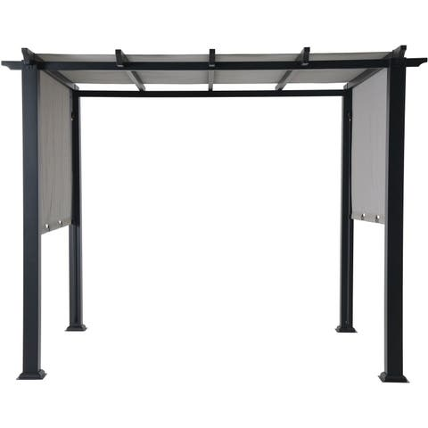 Hanover 8 x 10 Ft. Metal Pergola with an Adjustable Gray Canopy