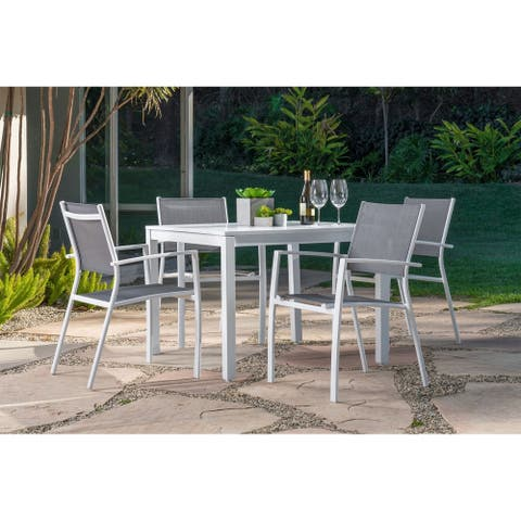 """Harper 5-Piece Outdoor Dining Set with 4 Sling Arm Chairs and a 38"""" Square Dining Table"""