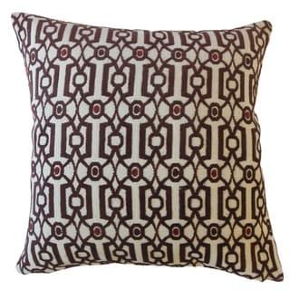Saadet Crewel Throw Pillow Garnet