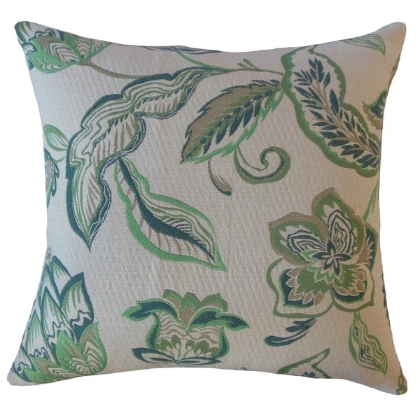 Landers Floral Throw Pillow Emerald