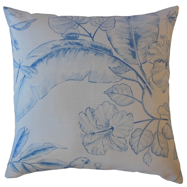 Xiahe Floral Throw Pillow Blue