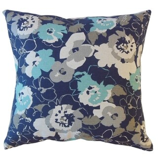 Varali Floral Throw Pillow Cyan