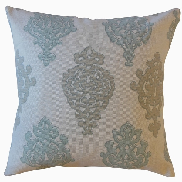 Palti Damask Throw Pillow Seahaze