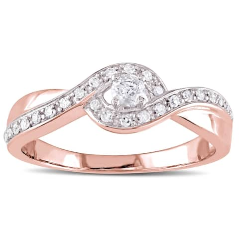 Miadora Rose Plated Sterling Silver 1/4ct TDW Diamond Crossover Engagement Ring