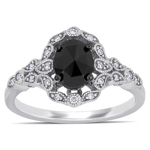 Miadora 14k White Gold with Black Rhodium 1ct TDW Black and White Diamond Halo Ring