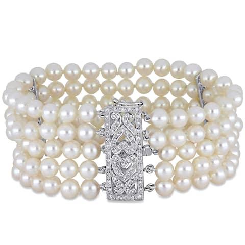 Miadora 14k White Gold Cultured FW Pearl and 5/8ct TDW Diamond 5-Strand Bracelet (5-6 mm)