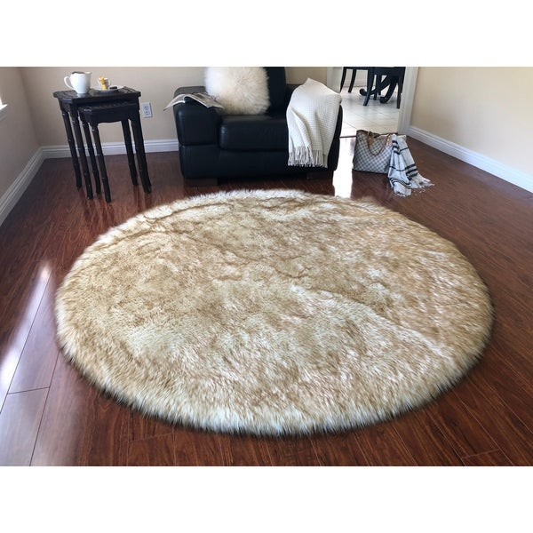 Silver Orchid Nansen Luxurious Faux Sheepskin Round Shag Area Rug. Opens flyout.