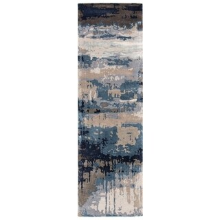 Porch & Den Kellwood Handmade Blue/ Grey Abstract Area Rug