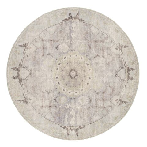 Arista Hand-Knotted Medallion Gray/ Blue Area Rug