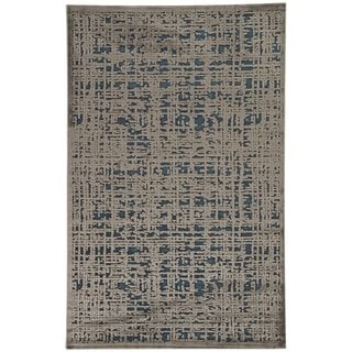 """Echo Abstract Gray/ Blue Area Rug - 9'6"""" x 13'6"""""""