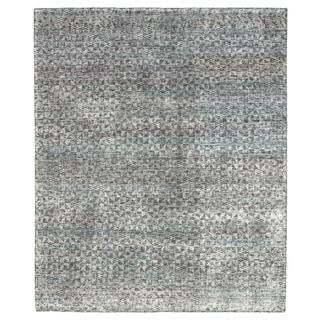 Atz Hand-Knotted Geometric Gray/ Black Area Rug - 10' x 14'