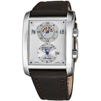 Raymond Weil Men's 2888-STC-65001 'Don Giovanni' Silver Dial Brown Leather Strap Dual Time Automatic Watch