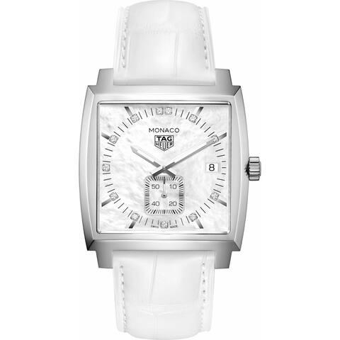 Tag Heuer Men's WAW131B.FC6247 'Monaco' Diamond White Leather Watch