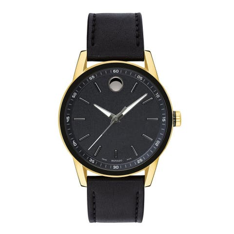 Movado Men's 0607223 'Museum Sport' Black Leather Watch