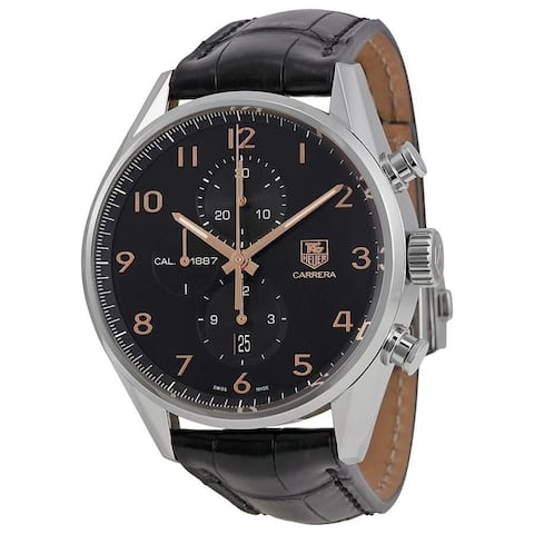 Tag Heuer Men's CAR2014.FC6236 'Carrera' Chronograph Brown Leather Watch