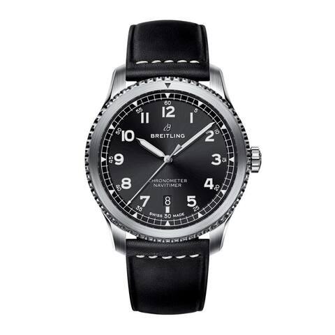 Breitling Men's A1731410-BG68-489X 'Navitimer' Black Leather Watch