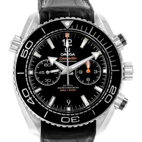 Omega Men's 215.33.46.51.01.001 'Seamaster Planet Ocean' Chronograph Black Leather Watch