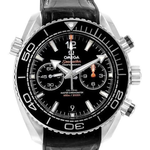 Omega Men's 215.33.46.51.01.001 'Seamaster Planet Ocean' Chronograph Black Leather Watch