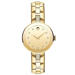 Movado Women's 0606817 'Sapphire' Crystal, Dot Gold-Tone Stainless Steel with Sets of Diamond Watch