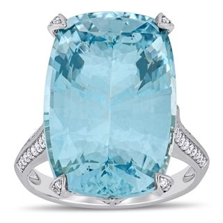 Miadora 14k White Gold Cushion Cut Sky Blue Topaz And 1 2ct TDW Diamond Cocktail Ring