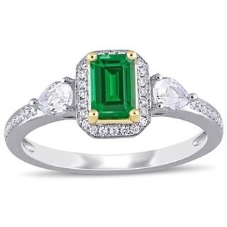 Miadora 2 Tone 14k Gold Emerald White Sapphire And 1 8ct TDW Diamond 3 Stone Ring