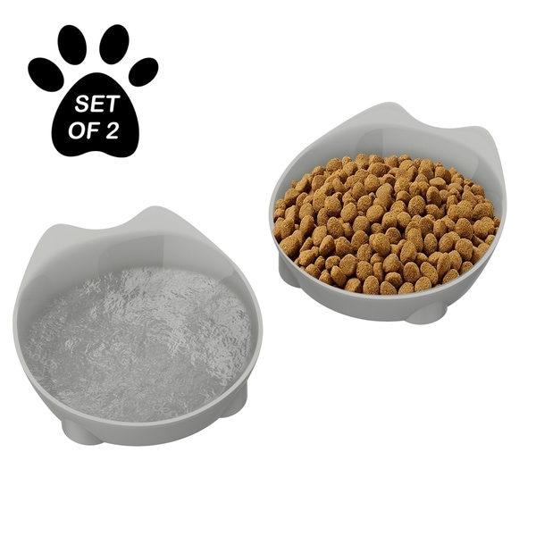 Petmaker Whisker Relief Silvertone 8-fluid-ounce Cat-shaped Cat Dishes for Food and Water with Nonslip Bottoms (Set of 2). Opens flyout.