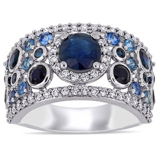 Miadora 14k White Gold Blue Sapphire and 1/2ct TDW Diamond Cluster Anniversary Band