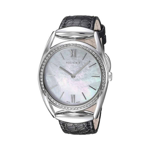 27ba4229856 Shop Gucci Women s YA140406  Horsebit  Black Leather Watch - Free Shipping  Today - Overstock - 27388753