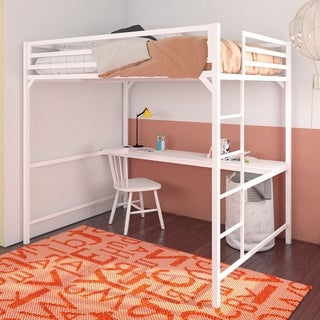 Porch & Den Wilkesboro Metal Full Loft Bed with Desk
