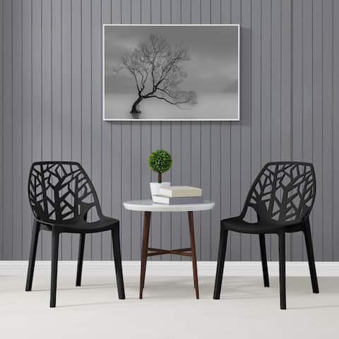 Havenside Home Espenberg Armless Indoor/Outdoor Resin Modern Tree Dining Chairs (Set of 2)