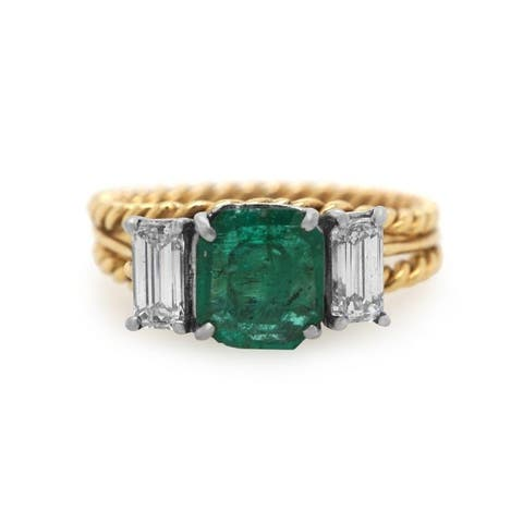 18K Two-Tone Gold Emerald and Diamond Vintage Engagement Ring (G-H, VS1-VS2)