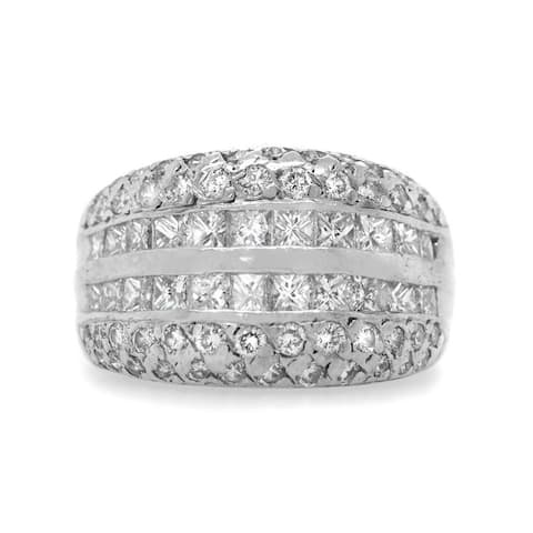 Platinum 3ct Diamond Vintage Band Ring (I-J, VS1-VS2)