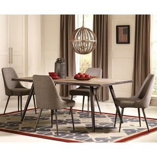 Modern Rustic Weathered Wood and Metal Dining Set