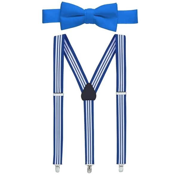 Perfect for Tuxedo Hold/'Em 1 Teens /& Men Suspender and Bow Tie Set EXTRA STURDY POLISHED CLIPS Pre-tied Bow Tie