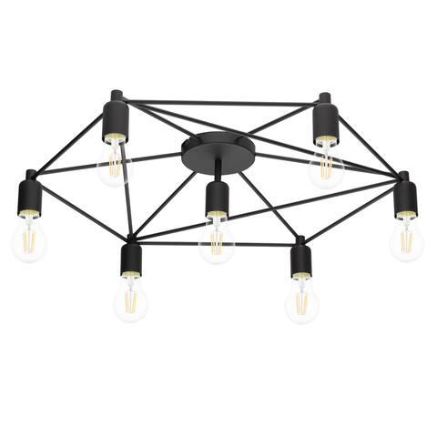 Eglo Staiti 30-Inch 7-Light Black Semi Flush Mount Ceiling Light
