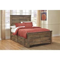 Trinell Rustic Panel Bed with Drawer Storage