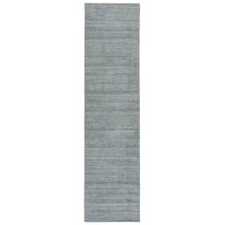 Zen Handmade Geometric Ivory/ Dark Blue Runner Rug - 3' x 12' Runner