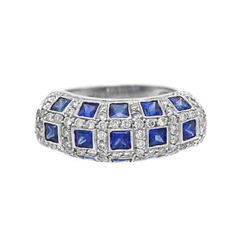 Platinum Diamond Sapphire Checkerboard Band Ring