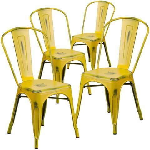 4PK Distressed Black Metal Indoor-Outdoor Stackable Chair - Kitchen Furniture