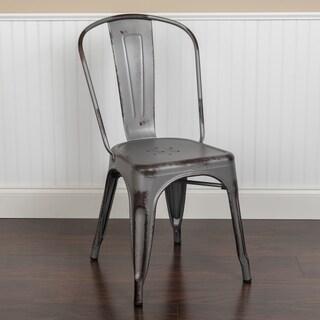 Porch & Den Bristlecone Distressed Metal Indoor/ Outdoor Stackable Chair