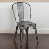 Distressed Metal Indoor-Outdoor Stackable Chair