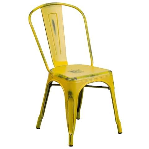 Porch & Den Bristlecone Distressed Metal Indoor/ Outdoor Chair