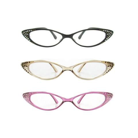 Rhinestone Colorful Cat Eye Reading Glasses R223-Set of 3 - Black/Crystal Purple/Crystal Brown